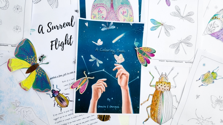A Surreal Flight – Our first colouring book for some love and light.
